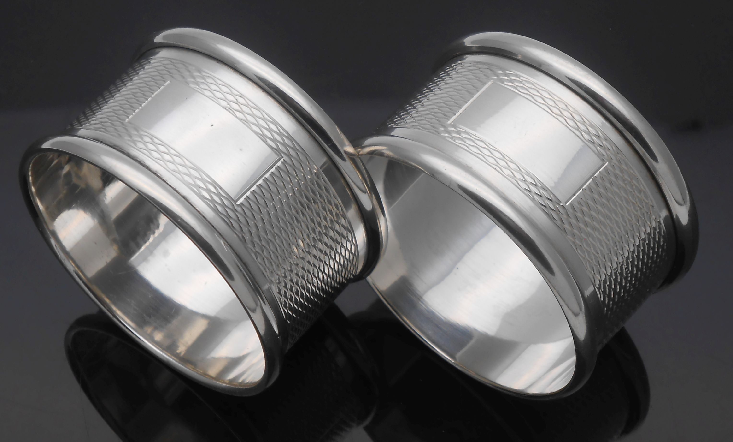 Pair Sterling Silver Napkin Rings John Rose Birmingham 1967 No Initials Vintage Kitsch Antique Silver Cutlery Collectables