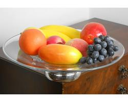 LARGE 35cm STERLING SILVER & GLASS FRUIT BOWL - BIRMINGHAM 2004 (#54824)