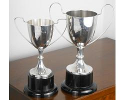 2x VINTAGE SILVER PLATED TROPHY CUPS on PLINTHS - WINEGLASS (#54924)