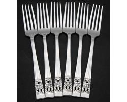 COMMUNITY HAMPTON COURT CORONATION SET OF 6X SIDE / DESSERT FORKS - VINTAGE (#54954)
