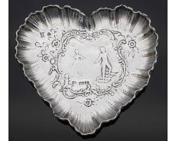 HANAU STERLING SILVER HEART SHAPE TRINKET DISH - LONDON 1895 IMPORT (#55107)