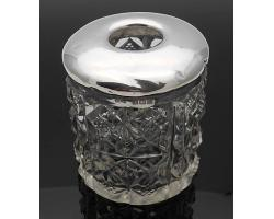 THICKLY CUT GLASS HAIR TIDY JAR - STERLING SILVER LID BIRMINGHAM 1909 (#55122)